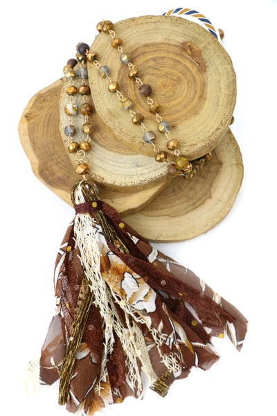 Never Enough Long Stone And Crystal Beaded Necklace With Bronze Multi-Fabric Tassel
