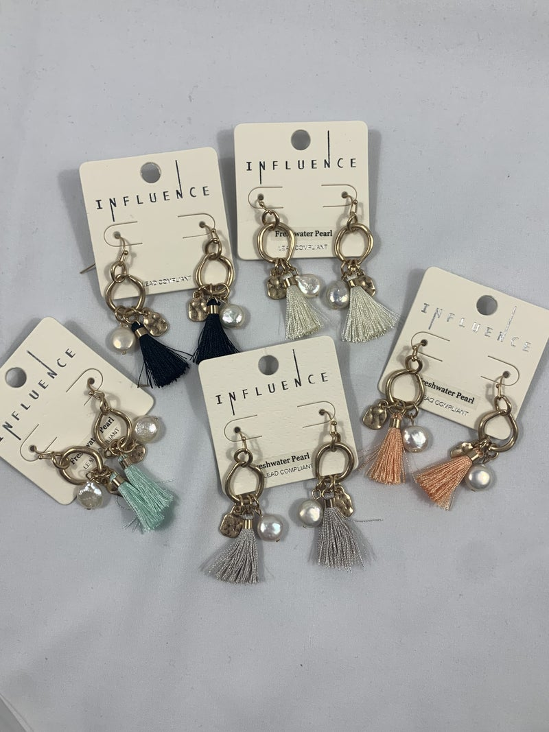 Stuck In The Middle Gold Hoop Earring With Tassel, Pearl And Gold Disc Charms In Multiple Colors