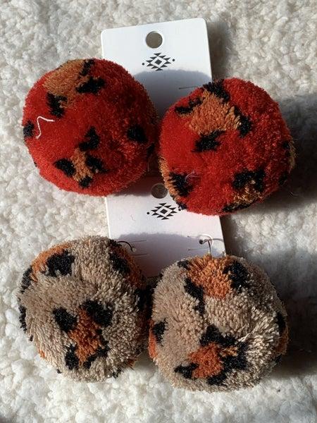 Jungle Love Leopard Pom Pom Earrings In Multiple Colors