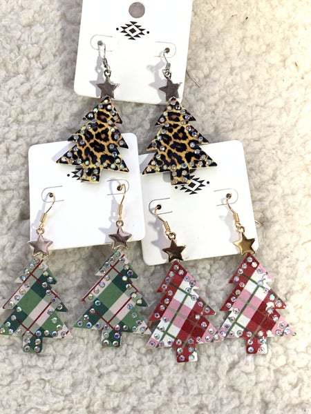Leopard Bling Christmas Tree Earring In Silver