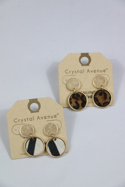 Animal Tracks Double Circle Gold and Ponyhair Animal Print Earring In Multiple Colors