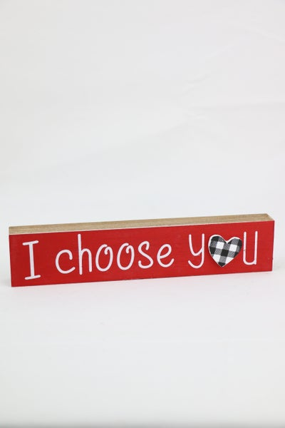 I Choose You Small Wood Sign With Black Buffalo Plaid Heart