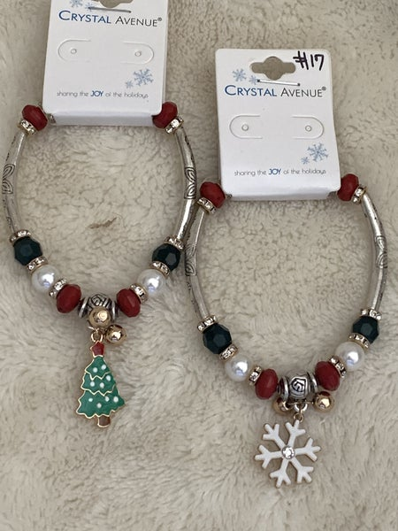Christmas Spirit Silver Bar And Beaded Stretch Bracelet With Charm In Multiple Designs