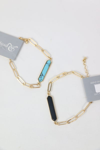 Always Fun Gold Link Bracelet With Stone Bar Pendant In Multiple Colors