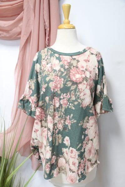 Garden Days Green & Pink Floral Ruffle Sleeve Top- Sizes 12-20