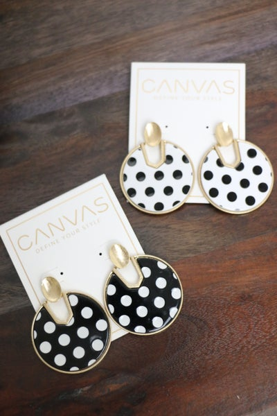 I Spotted You! Black And White Polka Dot Cut-Out Disk Earrings In Multiple Colors
