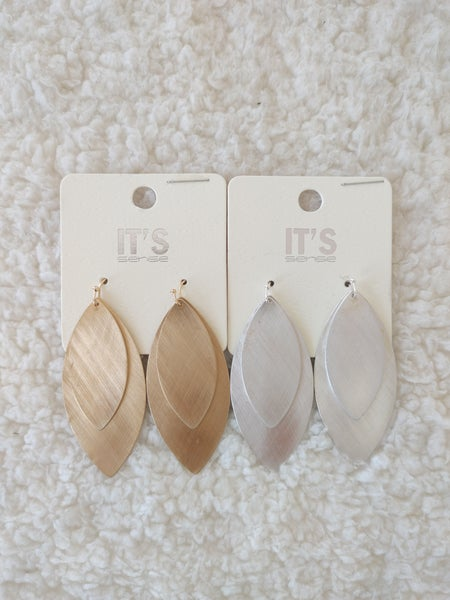 Double Take Brushed Metal Double Leaf Shape Earring In Multiple Colors