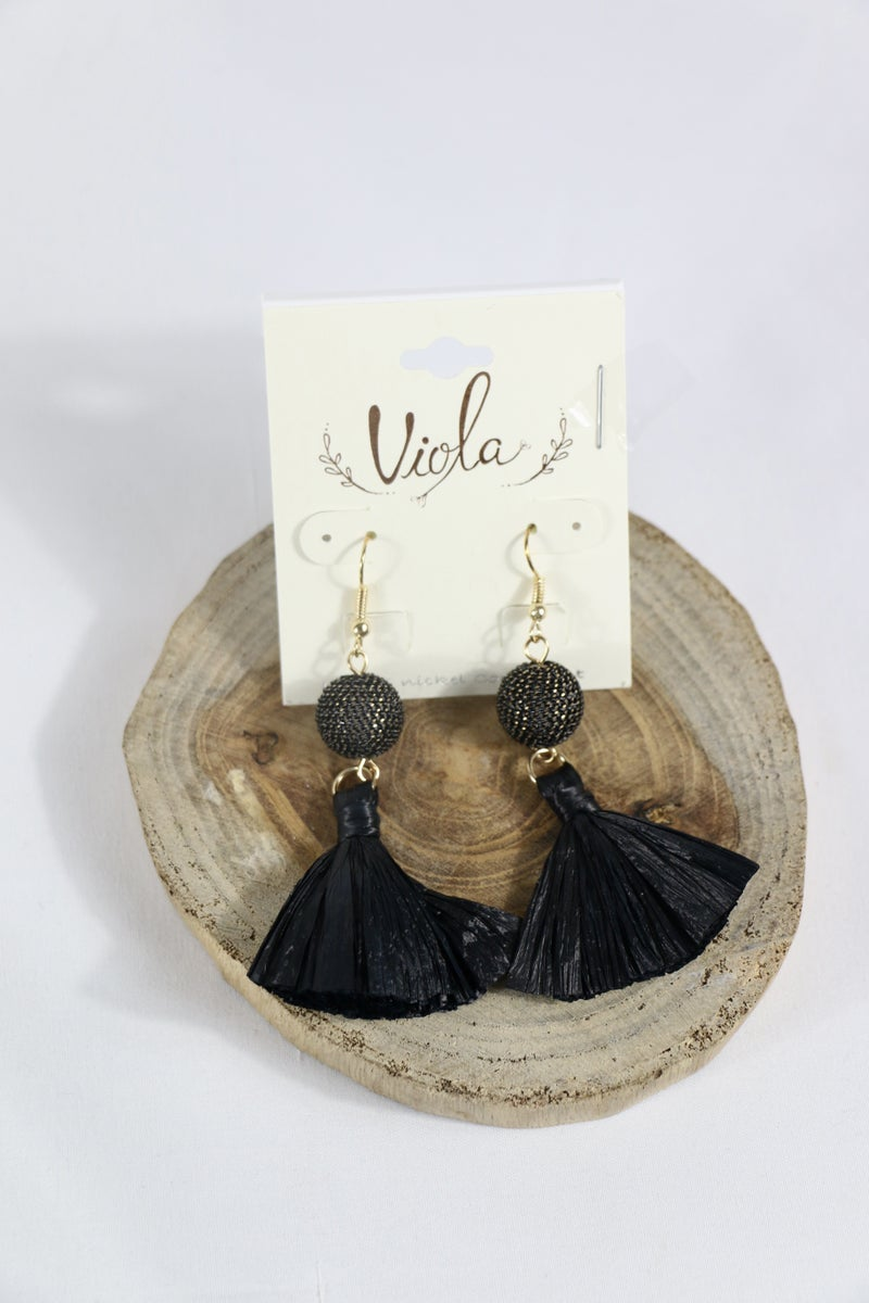 Plan Of Action Bead Drop Earring With Raffia Tassel In Multiple Colors