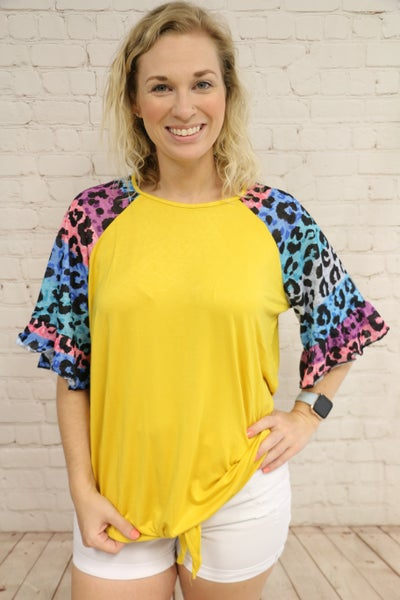 It's Your Day Leopard Raglan in Mustard - Sizes 4-20