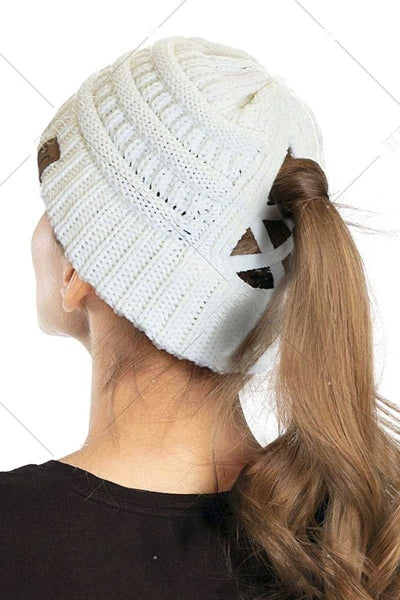 CC Criss Cross Knit Ponytail Beanie in Multiple Colors