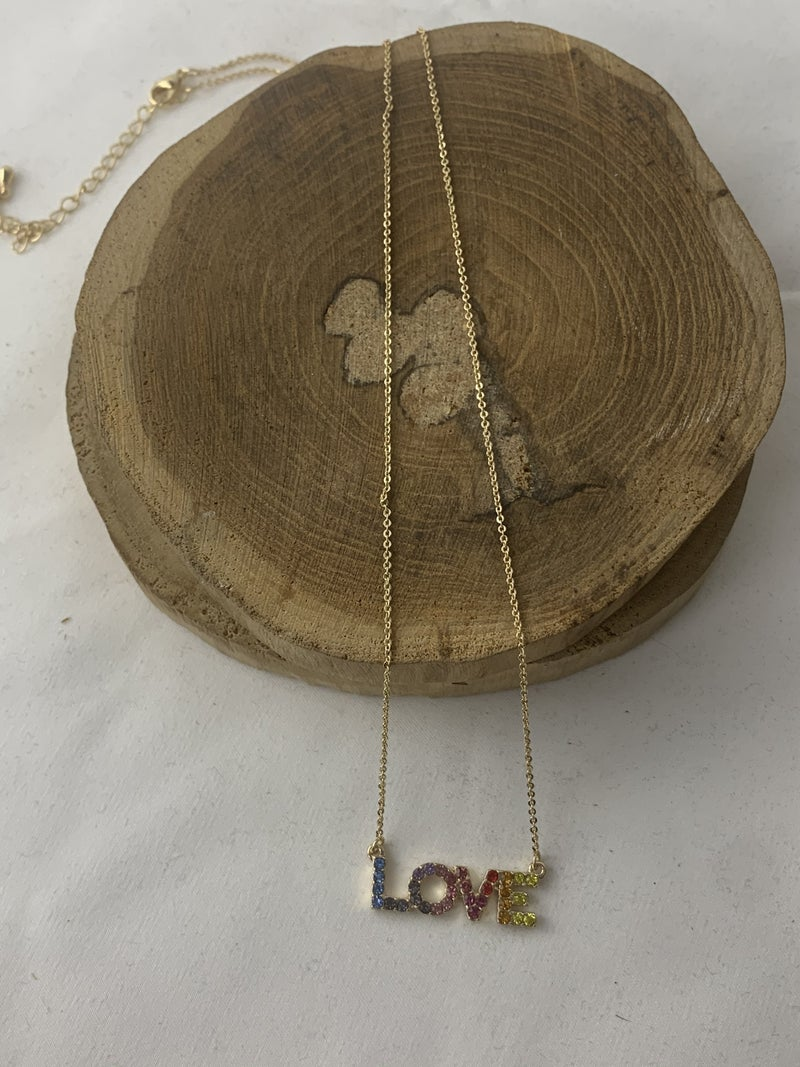 Everlasting LOVE Short Gold Necklace With Multicolor Love Pendant
