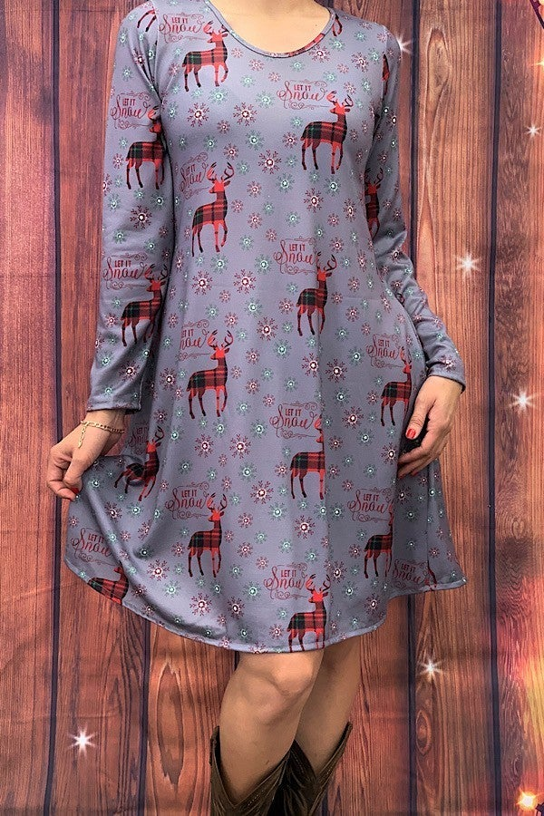 Let It Snow Gray Reindeer and Snowflake Dress - Sizes 4-18