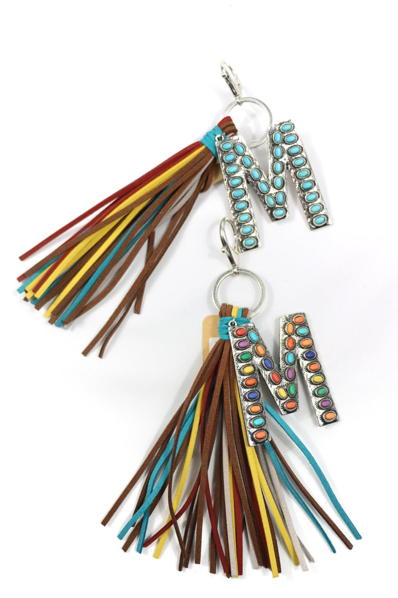 Initial Keychain with Colorful Leather Tassels