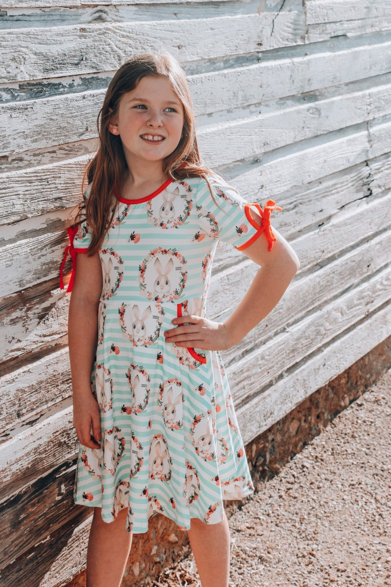 Perfectly Sweet Mint Striped Dress with Rabbit and Floral Wreath - Sizes 6M- 8Y