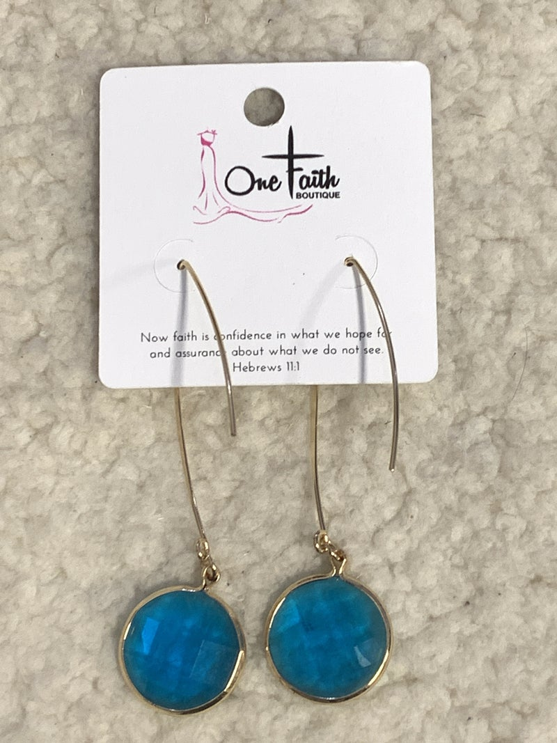I'm Alright Blue Glass Circle Drop Earring In Gold