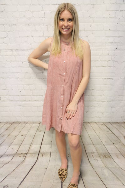 Im Yours Mauve Mineral Washed Button Up Dress- Sizes 4-10