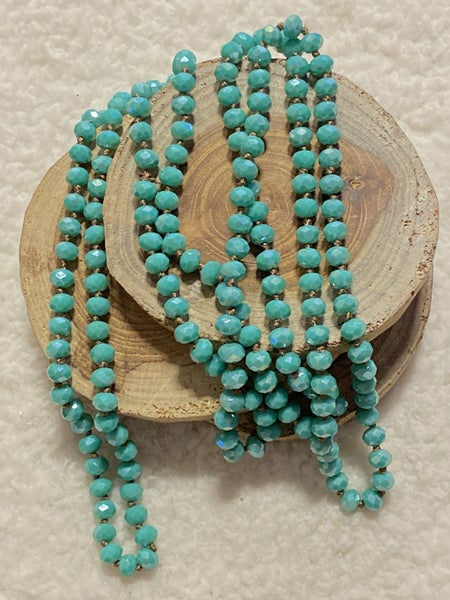Turquoise with Brown ThreadPoint Of Perfection Beaded Necklace