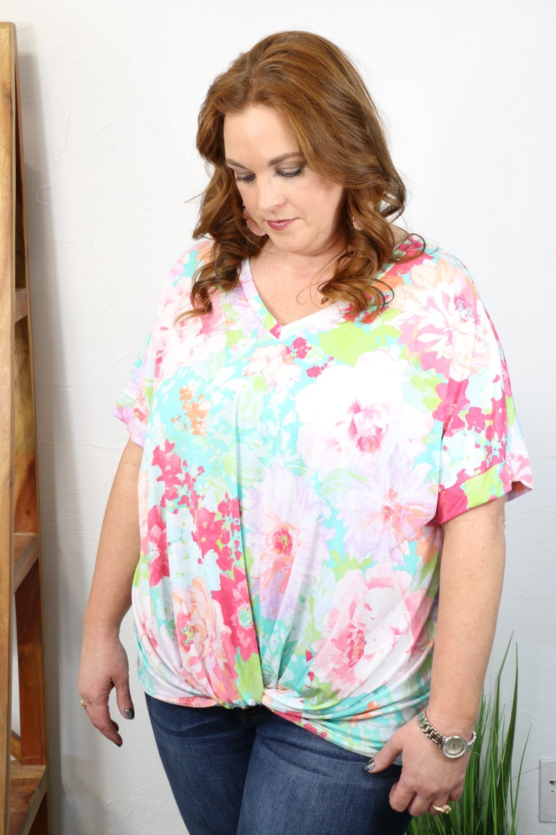 Springing Forward Mint Floral Short Sleeve V-Neck Top - Sizes 12-20