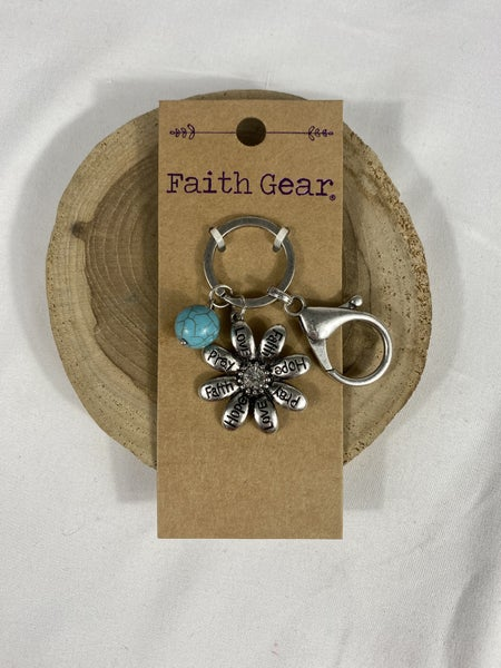 Fruits Of The Spirit Metal Flower Keychain With Turquoise Bead Detail