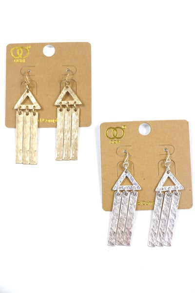 All Day Metal Triangle Wind Chime Earrings In Multiple Colors