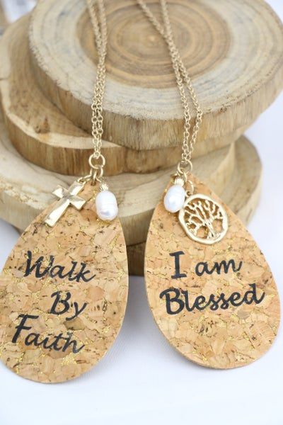 Inspiration Long Gold Necklace With Cork Teardrop Pendant With Charms In Multiple Sayings