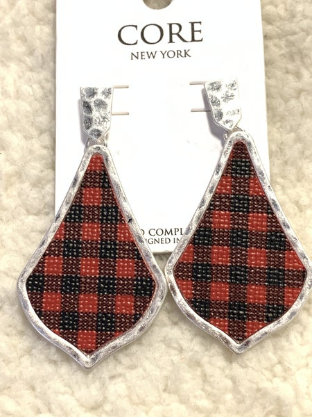 Always Here Red Buffalo Plaid Earring In Silver