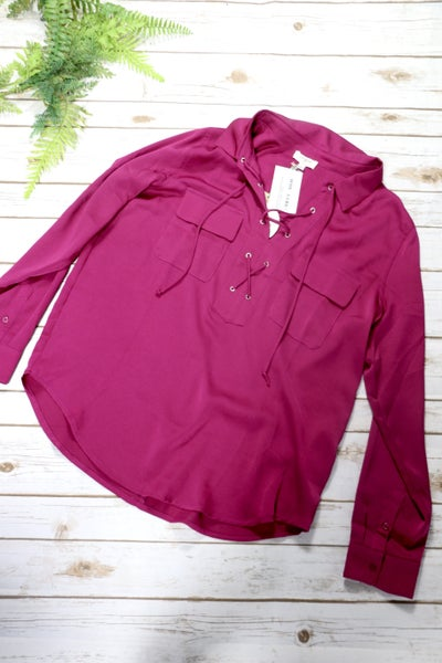 Magenta Collard Long Sleeve Top With Lace Up Detail In Small