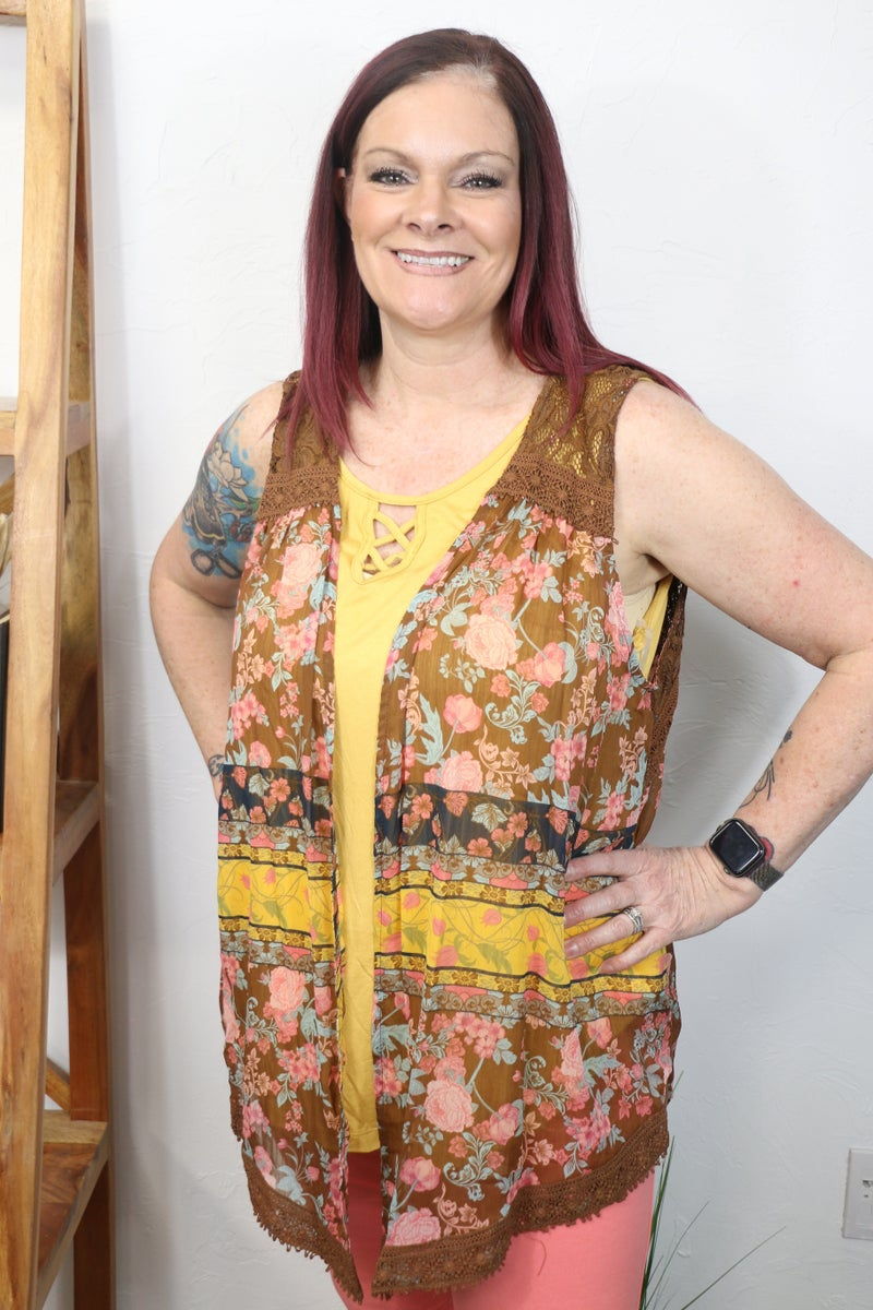 Something You Said Mustard Sleeveless Top with Chocolate Floral Sheer Vest - Sizes 12-24