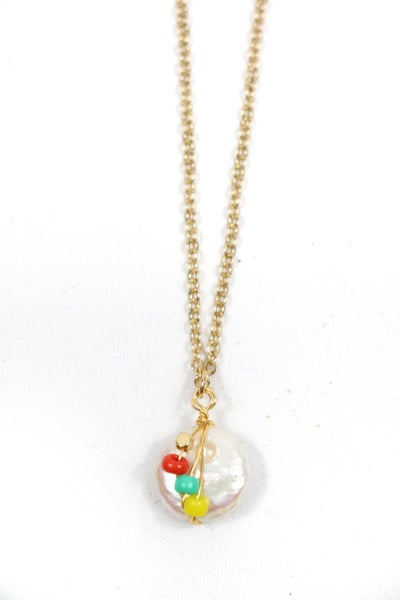 Sweet As Can Be Short Gold Necklace With Freshwater Pearl And Bead Necklace