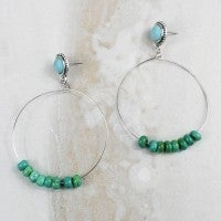 Searching for Love Turquoise Stone Circle Post Back Earring in Multiple Colors