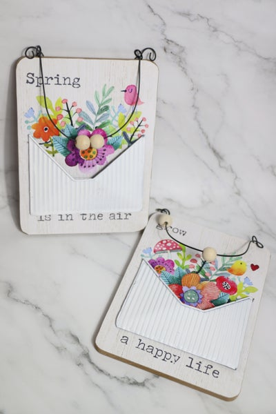 Happy Spring Wood And Tin Wall Pocket With Wood Bead And Metal Hanger In Multiple Sayings