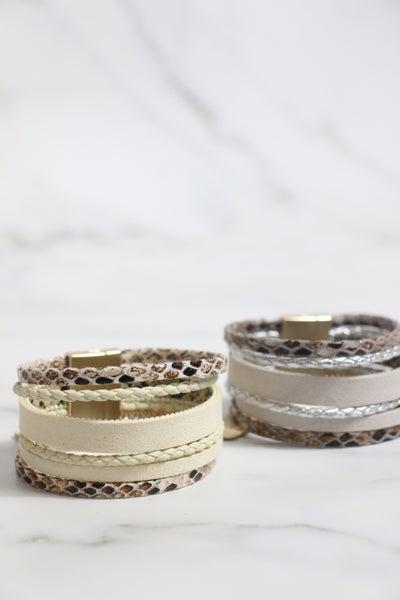 Do The Same 6 Strand Snakeskin Magnetic Clasp Bracelet In Multiple Colors