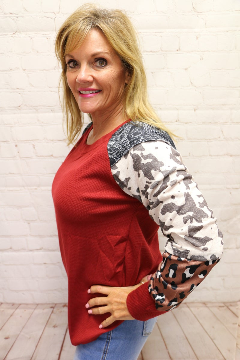 Take a Chance Gray Waffle Knit with Leopard and Cow Accent Sleeve in Mutliple Colors - Sizes 4-10