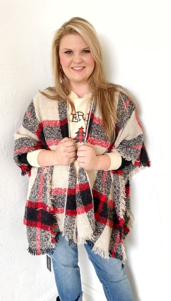 That's the Way Love Goes Oatmeal Plaid Kimono - One Size Fits Most