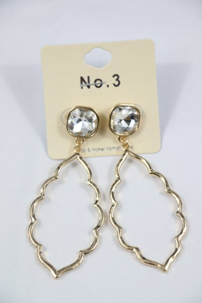 Let's Go Out Gold Scalloped Drop Earring With Clear Crystal Stud