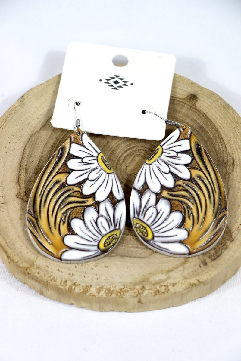 Double Daisy Large Leather Tooled Teardrop Earring With Daisy Design