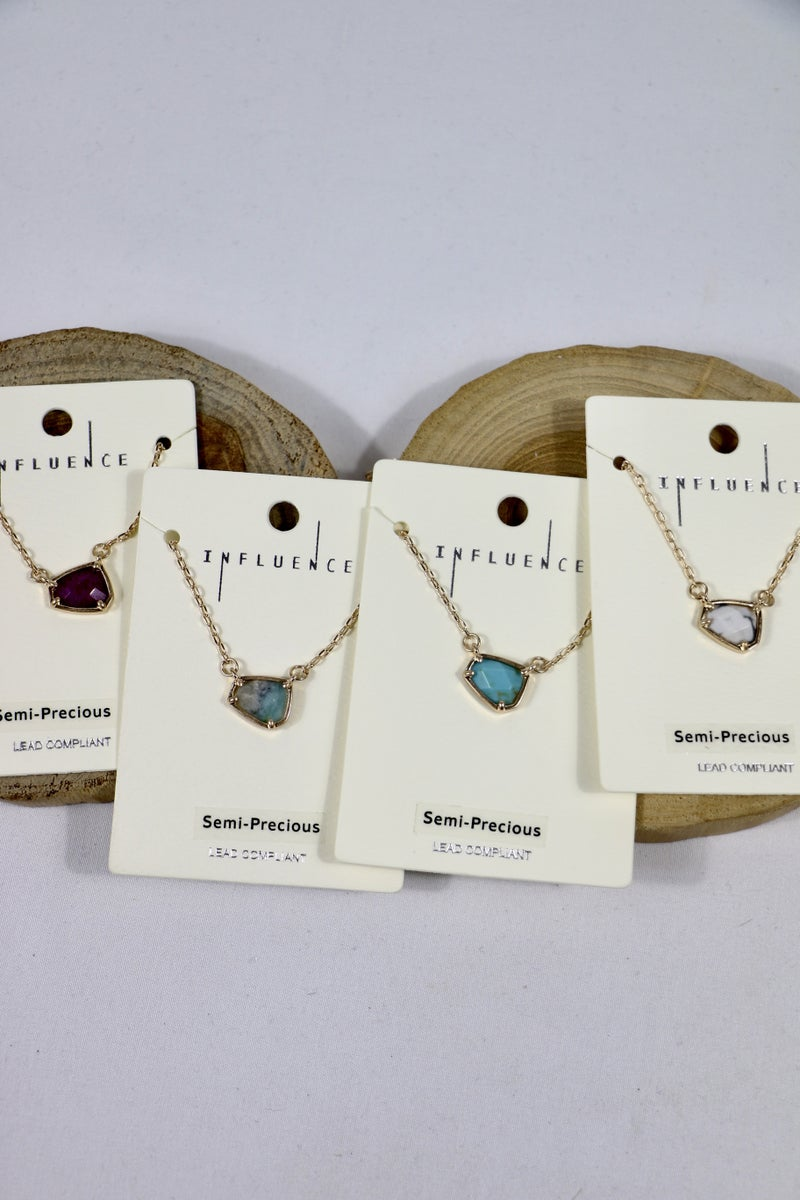 This Is The Life Short Gold Necklace With Small Stone Pendant In Multiple Colors
