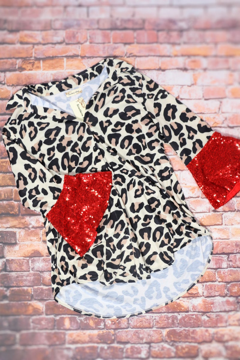 This Is The One Leopard Top with Red Sequin Sleeves - Sizes 4-20