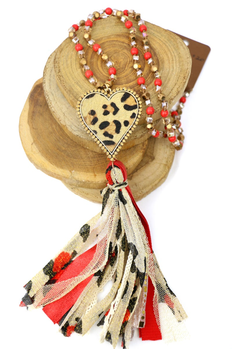 Love Of A Lifetime Long Beaded Necklace With Leopard Heart And Multi-Fabric Tassel