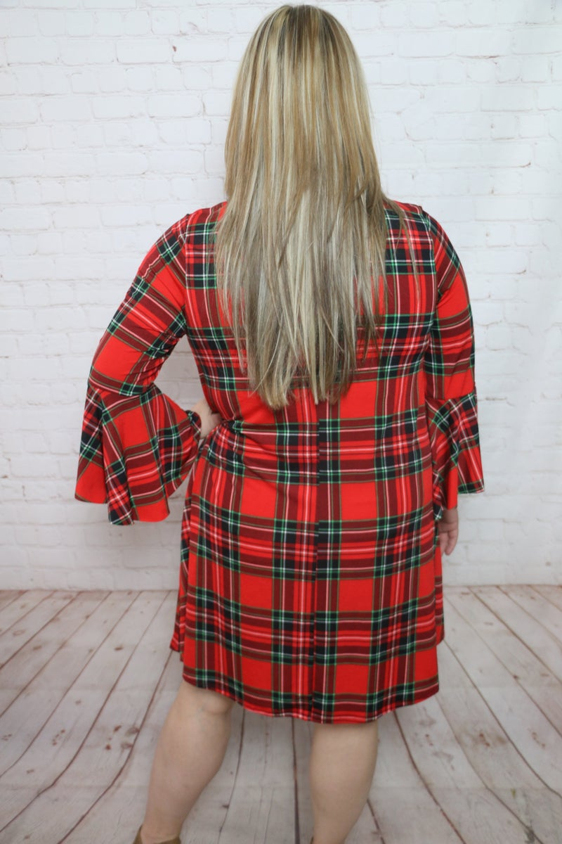 Christmas Wishes Red Plaid Bell Sleeve Dress - Sizes 12-20
