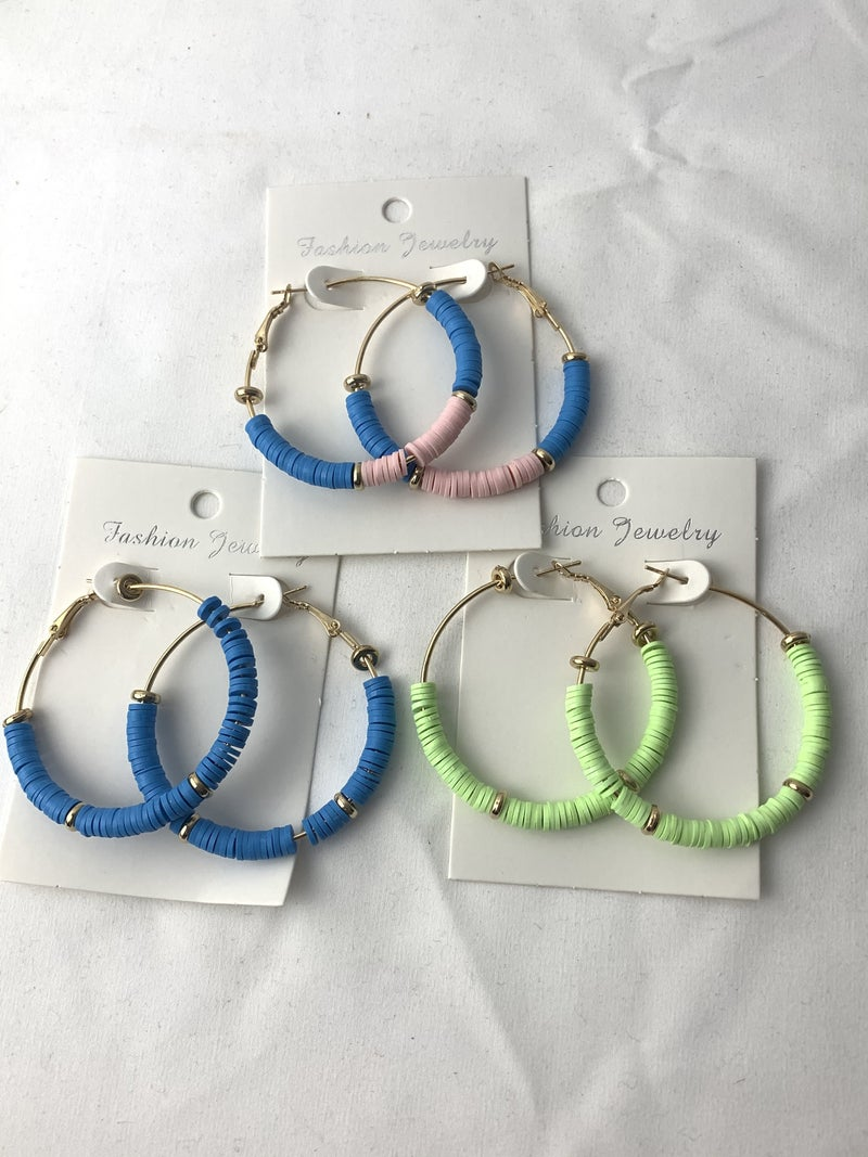 Round Them Up Rubber Disc Hoop Earring In Multiple Colors