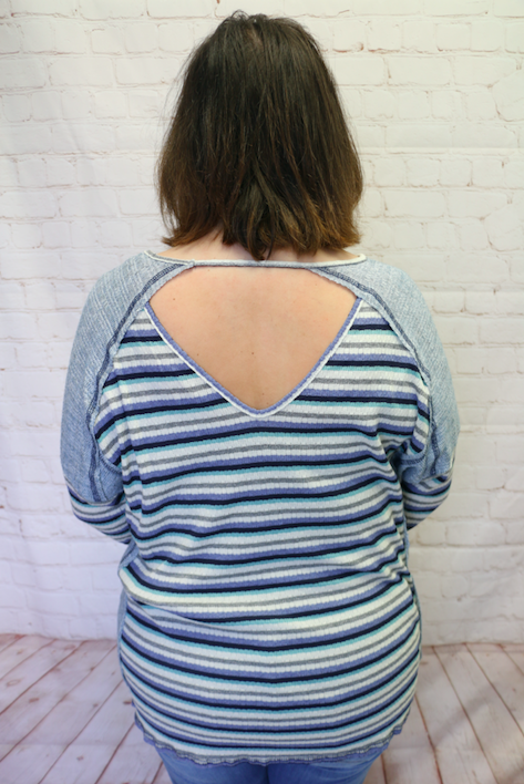 Feeling Great Striped Top With Cut Out Back In Blue- Sizes 4-10