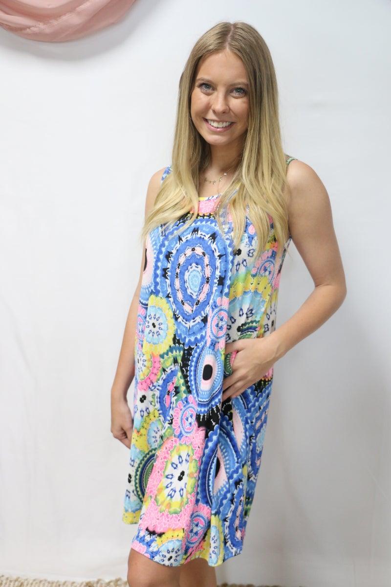 My Happy Place Geometric Patterned Sleeveless Dress - Sizes 4-12