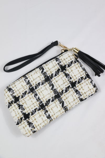 Adore Me Black And White Plaid Wristlet Bag With Gold Thread Details