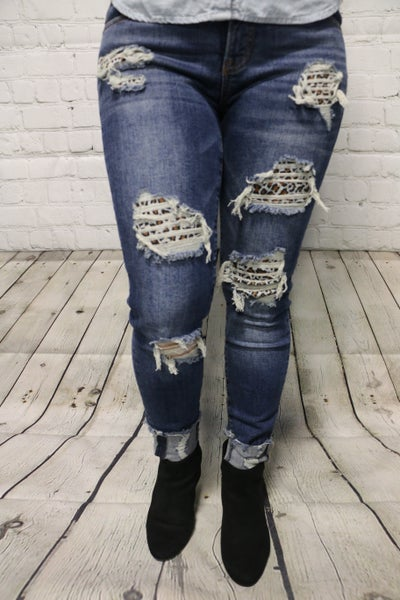 The Trixie Leopard Patch Mid Rise Jeans - Sizes 1-13