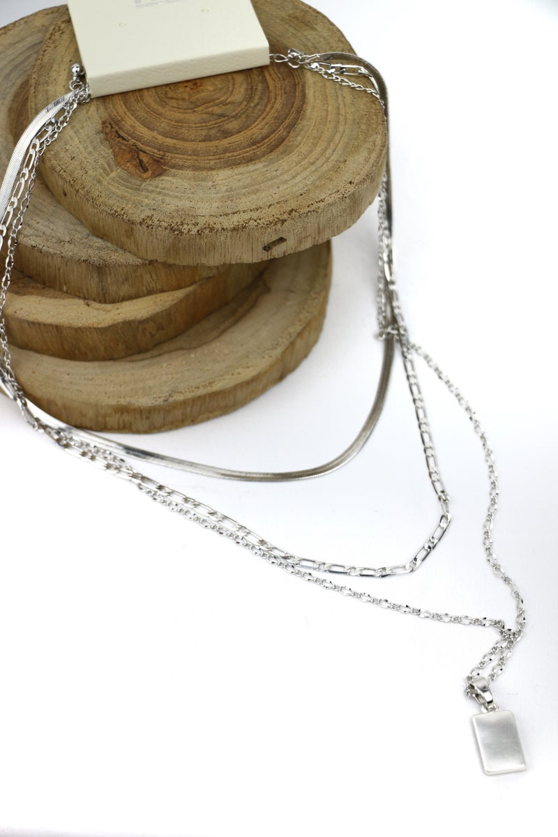 All In One 3 Strand Chain Necklace With Metal Rectangle Pendant In Multiple Colors