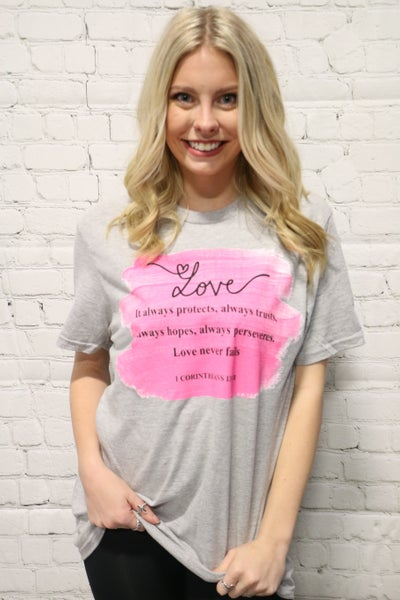 Love Never Fails February Tee Shirt Of The Month- Sizes 4-20