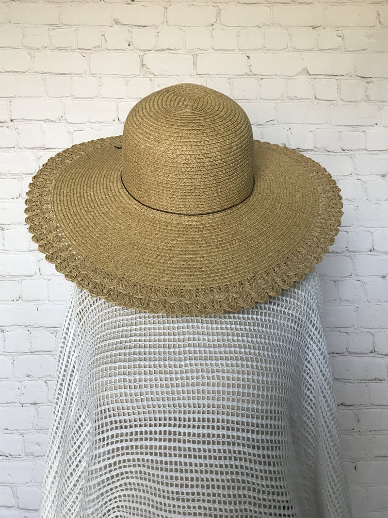 Be the Best You Scalloped Edge Straw Hat