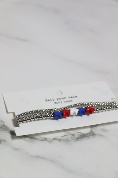 You're a Star Red, White and Blue Star Beaded Stretch Bracelet in Multiple Colors