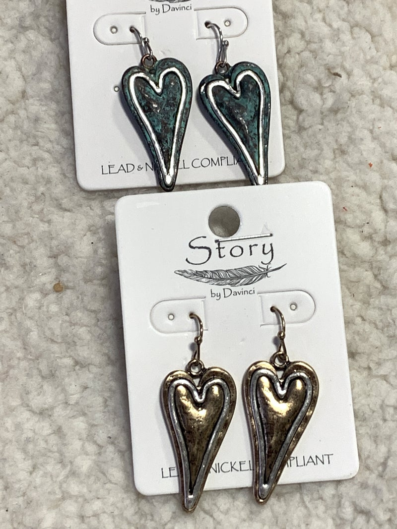Give Yourself A Chance Double Heart Teardrop Earring In Multiple Colors